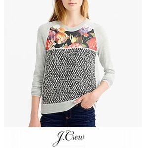 J. Crew Mixed Media Floral Wool Sweater